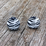 Zebra print polymer clay stud earrings.