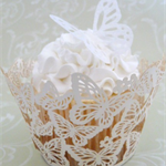 24x EDIBLE wafer  white wedding lace butterflies butterfly cupcake toppers