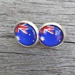 Glass dome stud earrings - Australian flag