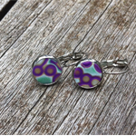 Purple, gold and blue bubble polymer clay dangle earrings.