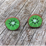 Kiwi slice polymer clay stud earrings.