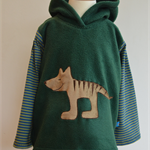 Unique Tassie Tiger Hoodie, dark green with striped sleeves, size 3-4 years
