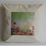 Cushion Cover, Field of flowers, Girl  Watercolour Painting Art 40cmx40cm
