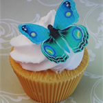 36x EDIBLE wafer  blue peacock butterflies butterfly cupcake toppers DIY