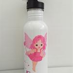 PINK FAIRY: Personalised drink/Water bottle, BPA free 600ml