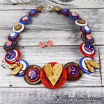 Australian Pride - Aussie Flag - Button Jewellery - Bonus Earrings - Necklace