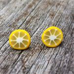 Lemon slice polymer clay stud earrings.
