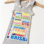Australia Day Aussie Cities Text Singlet, Appliqued Print, Cotton, Size 1