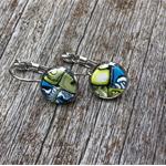 Green and blue abstract polymer clay dangle earrings.