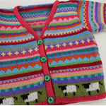 """Coral Pink """"Sheep"""" Cardigan - Size 1-2 years - Hand knitted"""