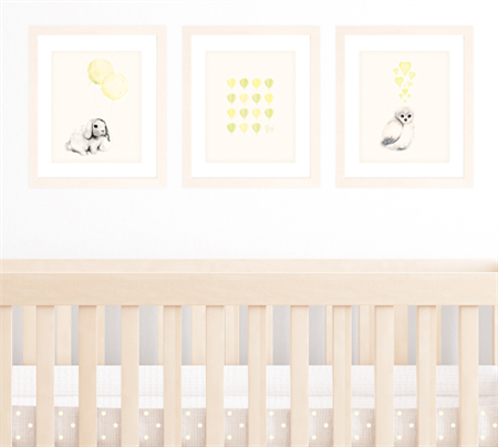Set of 3 A4 Prints for Baby Boy or girl Nursery, Yellow and Lime Green