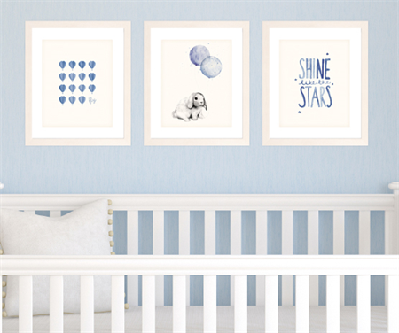 Set of 3 Navy Blue Prints for Baby Boy Nursery