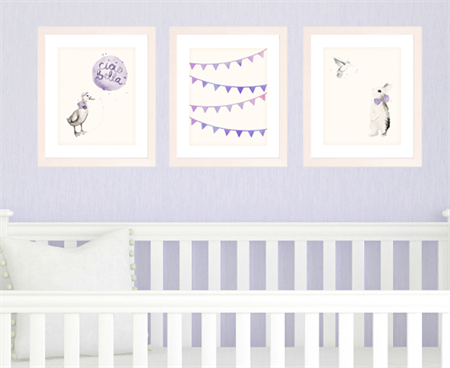 Set of 3 A4 Prints for Baby Girl Nursery, Purple Watercolour animals, bunting