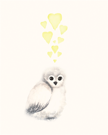 Baby Owl & Hearts - A4Art Print