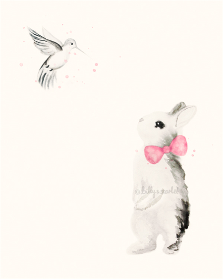 Bunny and the Hummingbird A4 Art Print in Rose Pink