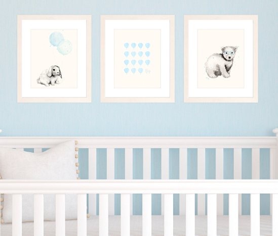 Set Of 3 A4 Prints For Baby Boy Nursery Light Blue Watercolour Animals