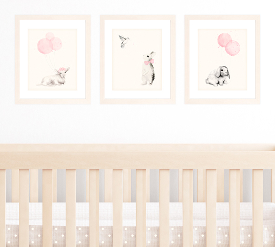 Set Of 3 A4 Prints For Baby Nursery Light Pink Shabby Chic Decor