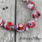 Knot just a Button - Red Black White fabric Necklace - matching stud earrings