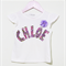 Personalised Custom Name Shimmery Floral Applique with Purple Chiffon Flower