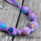 Knot just a Button  Purple Mauve Button fabric Necklace - matching stud earrings