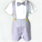 Boys Pants with Braces. Grey Linen. Your choice of size 4 to 6