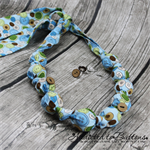 Knot just a Button green blue  Button fabric Necklace - matching stud earrings