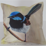 Cushion Cover, Blue Wren, Australian Bird Wildlife, Art, Throw Pillow Decorative