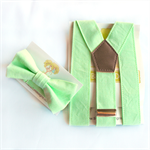 Mint Green Braces and Bow Tie Set. page boy, cake smash, toddler, christening