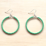 LARGE GREEN COLOUR BASICS EARRINGS - FREE SHIPPING WORLDWIDE