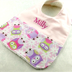 Baby Bib Personalised, Pink Owl Cotton Fabric Bamboo Toweling , Snap Fastened.