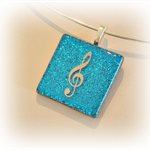 MUSIC Artisan Glass Pendant by Curly Jo