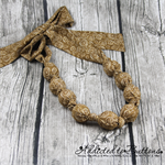Knot just a Button - Golden Cream -Fabric knot Necklace - matching stud earrings