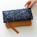 Midnight sequin lace and leather fold over clutch