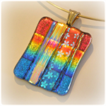 RAINBOW Artisan Glass Pendant by Curly Jo Design