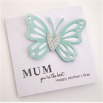 Handmade Card - MUM you're the best, Happy Mother's Day - Aqua - Personalised