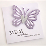 Handmade Card - MUM you're the best, Happy Mother's Day - Purple - Personalised
