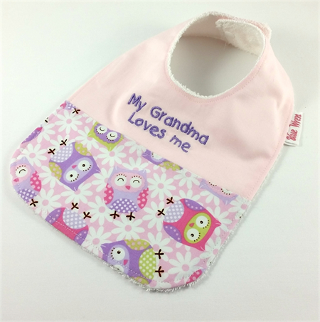 Baby Bib My Grandma Loves Me, Owl Cotton Fabric, Bamboo Toweling, Snap fastened.