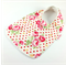 Dribble Feeder Bib, Pink Roses on Cotton Fabric, Bamboo Toweling, Snap Fastened.