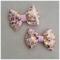 Baby / girls set of pink and gold animal print grosgrain ribbon bows