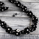 Knot just a Button Black White Spots  fabric Necklace matching stud earrings