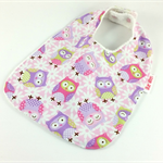 Dribble Feeder Bib, Pink Owl Cotton Fabric, Bamboo Toweling, Snap Fastened.