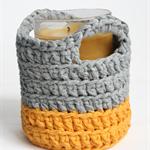 Crochet Basket Yellow & Light Grey - *ready to post*