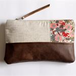 Linen and leather clutch, linen zipper pouch
