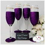 Maid of Honour and Bridesmaid Champagne Glitter Glass Wedding Collection Rio x 4