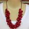Red Crochet Wire Beaded Necklace OOAK Original by Top Shelf