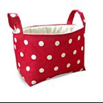 Fabric Storage Organiser Bin Basket - Red and White Polka Dot