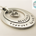 Large Silver Names Oval Pendant with Two Disks and Silver Heart & Necklace,