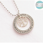 Silver Names Pendant with Tree of Life Charm & Necklace, Add Own Names / Message