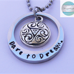 Luxurious Silver Names Oval Pendant with tribal Charm & Necklace.