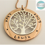 Large Hand Stamped Rose Gold and Silver Names Pendant with Tree of Life